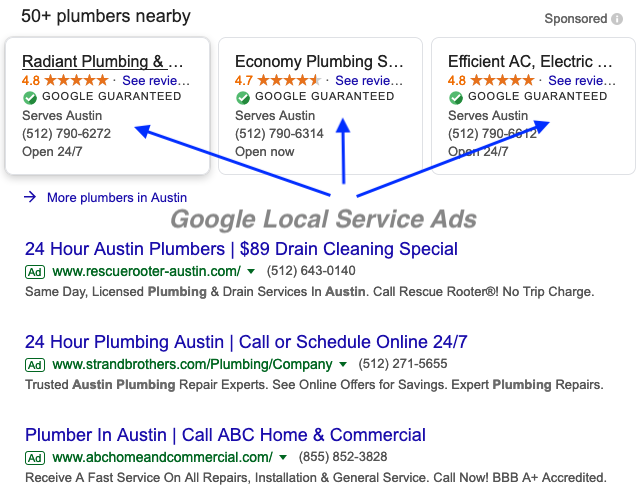 google LSA ads for plumbers in Austin